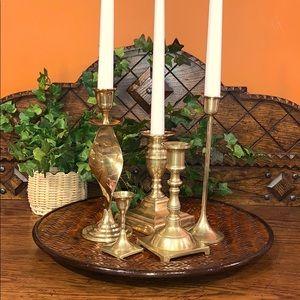 Vintage mismatched brass candle holders - set of 5